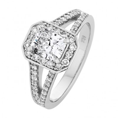 Emerald Cut White Diamond Halo Ring - The Viva