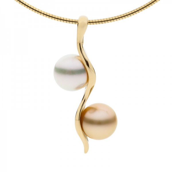 White and Gold Pearl Pendant - The Zephyr