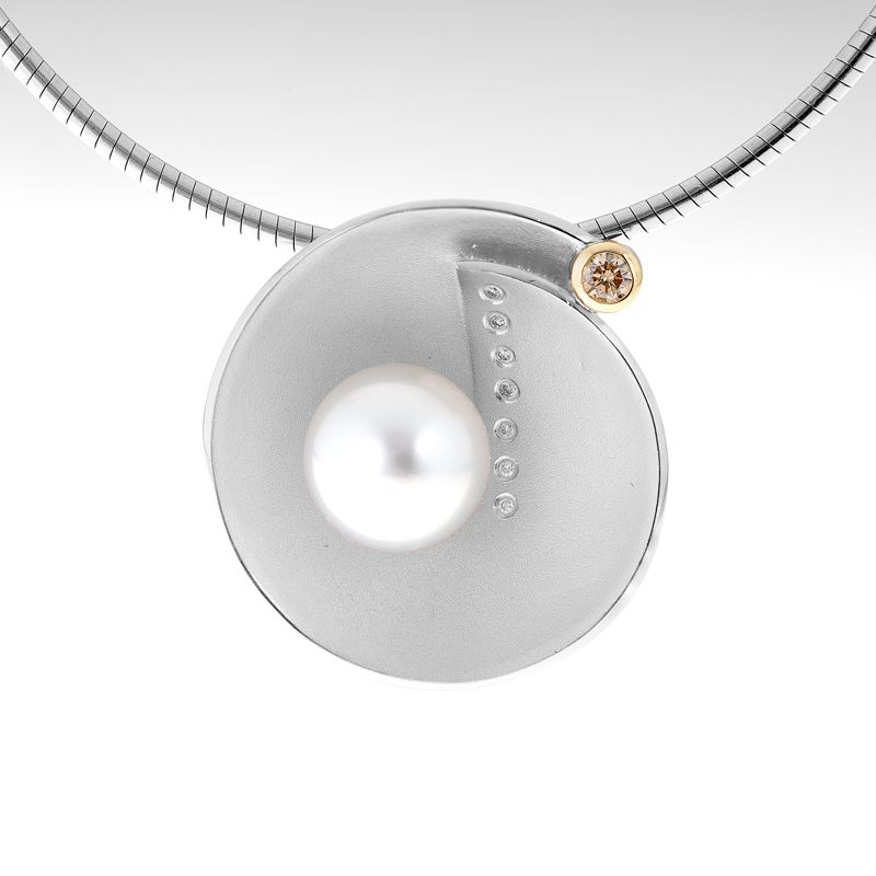 Silver Gold Pearl and Diamond Pendant Nautilus