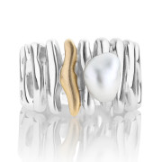 Sterling Silver and Gold Keshi Pearl Ring Driftwood