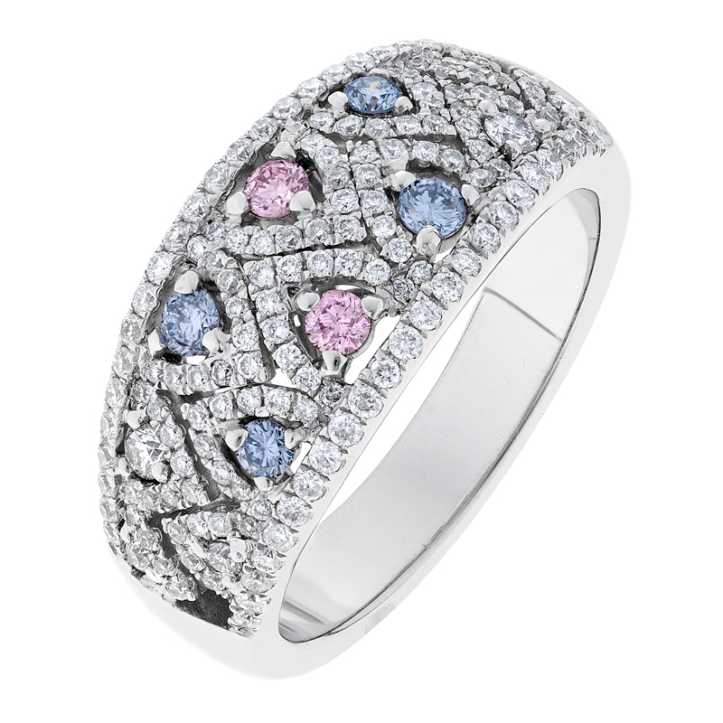 blue colored products diagonal white gold square ring tinted womens cluster fine round diamond fashion