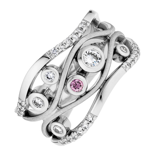 Argyle Pink and White Diamond Ring in White Gold - The Berkeley