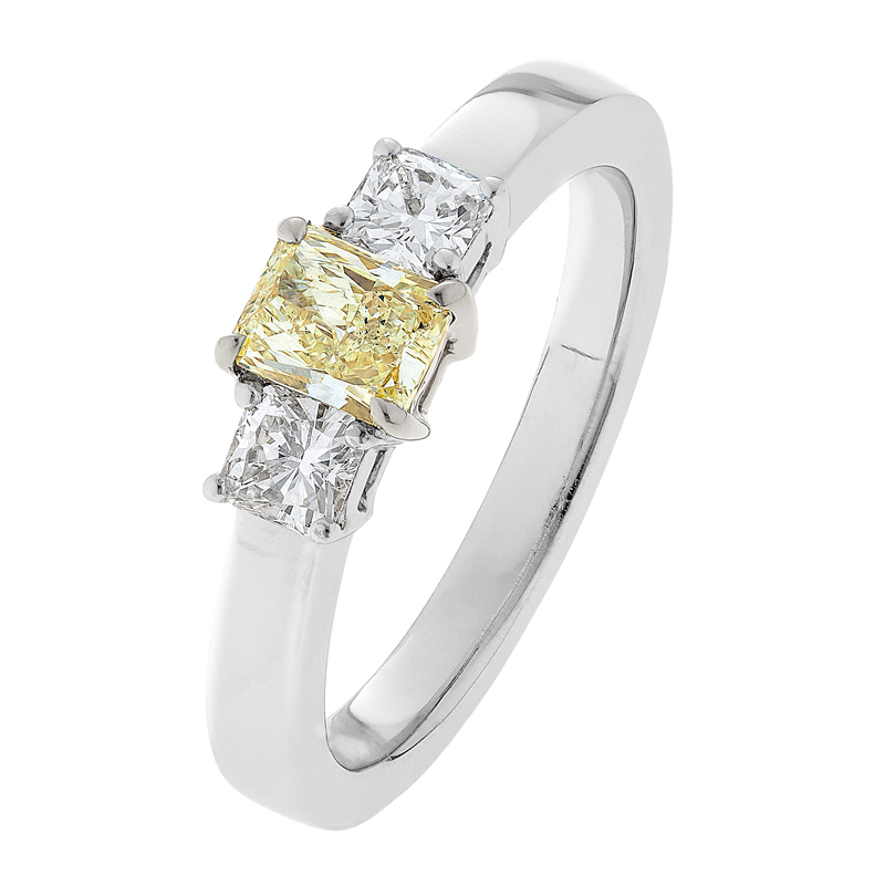 Yellow and White Diamond Engagement Ring - The Saskia