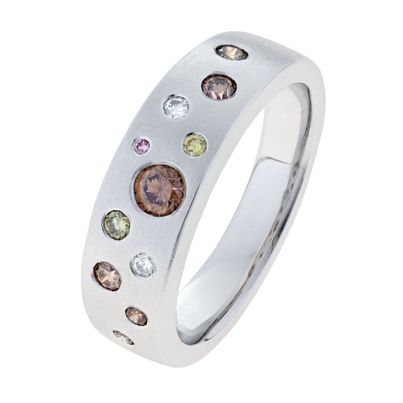 Coloured Kimberley Diamonds in White Gold - Amarina Ring