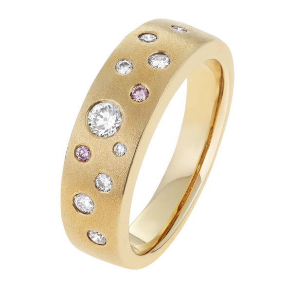 Argyle Pink and White Diamond Ring in Yellow Gold - The Amarina