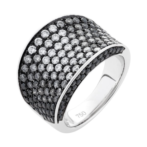 Mens Black and White Diamond Ring - the Phoenix