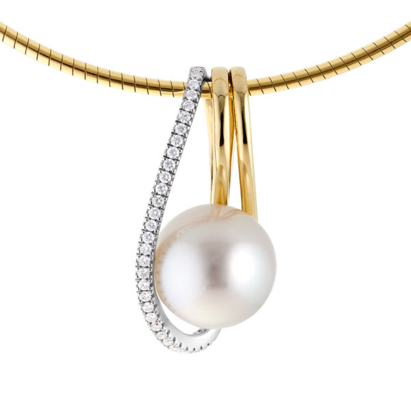 Broome South Sea Pearl Pendant with White Diamonds - The Aphrodite