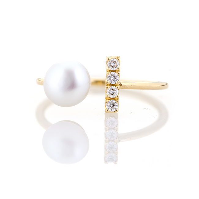 Keshi Pearl and Gold Ring with White Diamonds - Summer Time