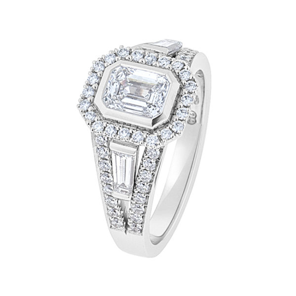 Emerald Cut Diamond Ring In White Gold - The Serena
