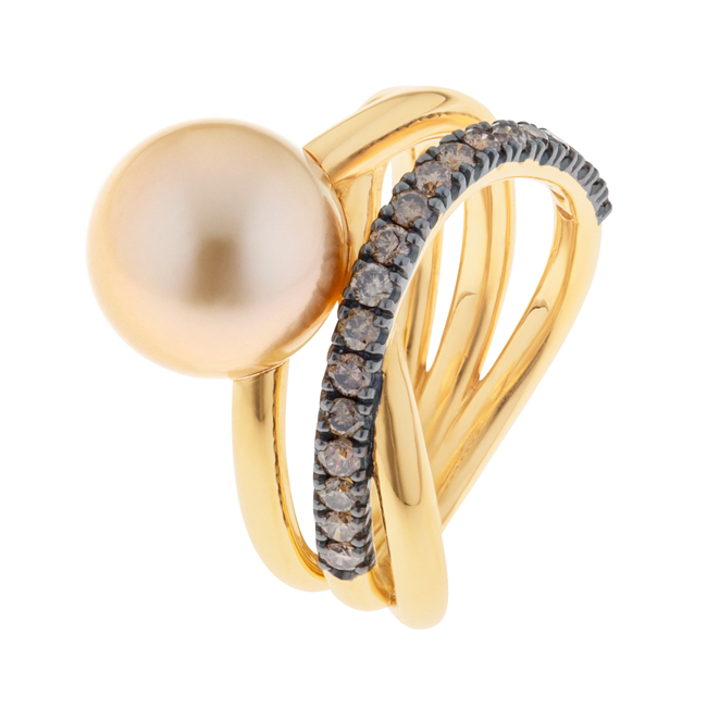 Broome Gold Pearl Ring With Champagne Diamonds - Kimberley Triple Embrace