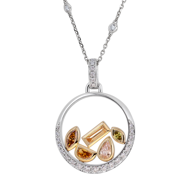 Coloured-and-white-diamond-disc-ring-pendant-two-toen-yellow-and-white-gold-Alluvial