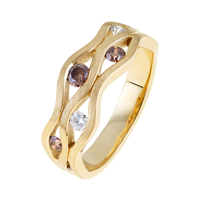 Yellow-Gold-Champagne-Diamond-Ring-Riviera