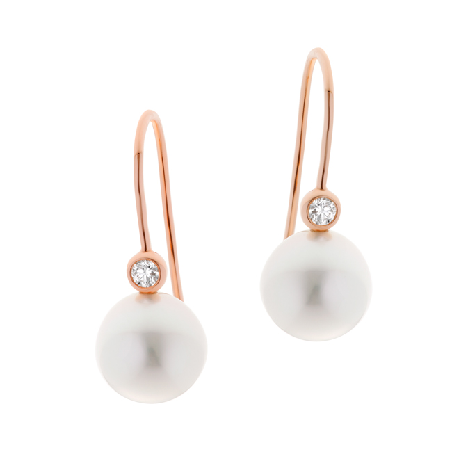 Pearl Luna Earrings With Diamond Rose Gold Jewels Of The Kimberley