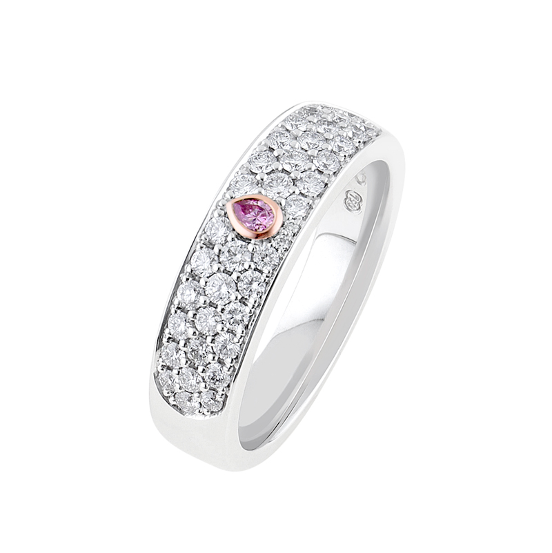 Pave Diamond ring with Pear shape Argyle Pink Diamond