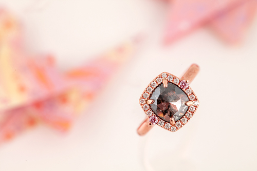 Earth Diamond and Argyle Pink Diamond Ring in Rose Gold
